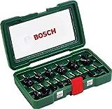 Bosch 15tlg. Hartmetall Fräser Set (für Holz, Ø-Schaft 8 mm, Zubehör Oberfräse)